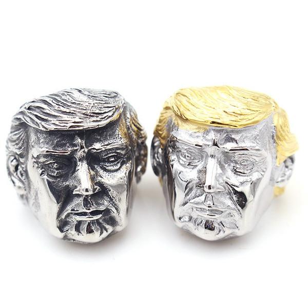 USA President Trump Rings Metal Color Titanium Steel Retro Ring Mens American President Jewelry New Arrival 15yr E1
