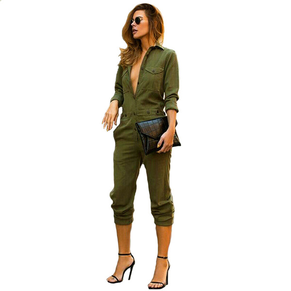 Sexy Women Vintage Denim V Neck Long Sleeve Jumpsuit Ladies Summer Clubwear Button Romper Trousers Playsuit One Piece Outfits