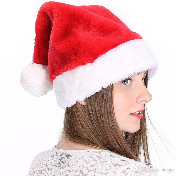 best selling 2018 Christmas Cosplay Hats Velvet Soft Plush Santa Claus Hat Warm Winter Adults Children Xmas Cap Christmas Party Supplies DH0131