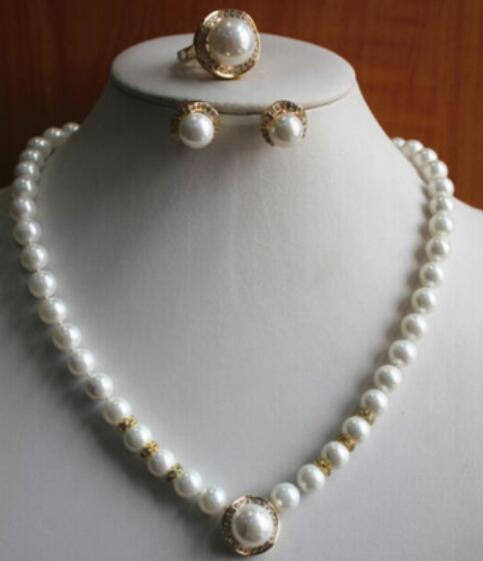 FREE SHIPPING+ Fashion Women'S Pure White Pearl and shell pearl Necklace Earring Ring(7/8/9)Jewelry Set