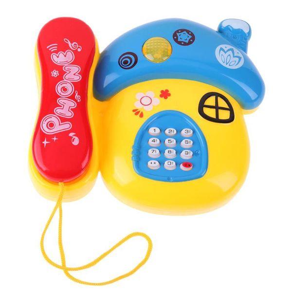 Пластиковых грибовы Форма игрушки Телефон светодиодные мигающей Музыка Звук Mobilephone Электронные Ранние Образовательные Детские игрушки Телефон