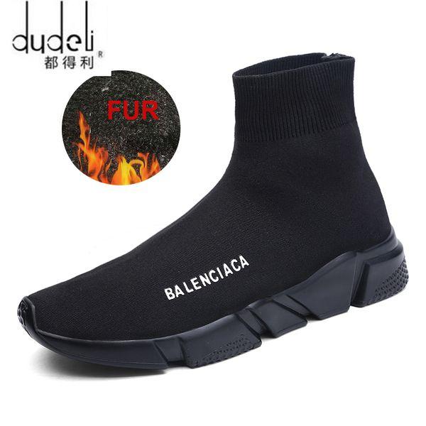 DUDELI POLALI 2018 Bahar Erkekler Rahat Ayakkabılar Erkekler Sneaker Ayakkabı Flats Rahat Kayma-On Nefes Çorap Unisex BOYUTU 45