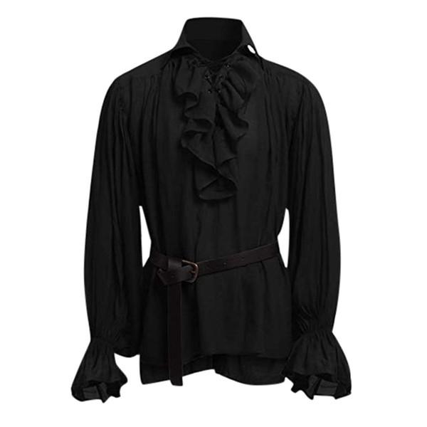 Высокое качество мужская блузка повязка с длинным рукавом средневековые мужчины рубашка готический человек блузка высокое качество мода мужской осень полиэстер