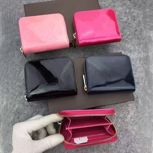 top popular Wholesale Patent leather short wallet Fashion high quality shinny leather card holder coin purse women wallet classic zipper pocket 2021