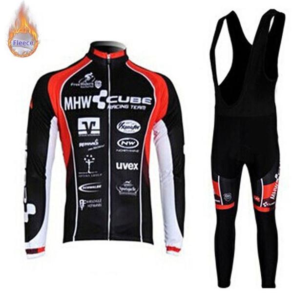 Nova equipe CUBE 2019 Ciclismo Mangas compridas jersey bib calças define Inverno Térmico Dos Homens Roupas de Ciclismo sportswear ao ar livre