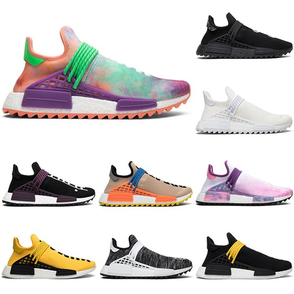 Wholesale Human Race Pharrell Williams Running Shoes Men Women Hu Trail Blank Canvas NERD black oreo designer mens Trainers Sports Sneakers