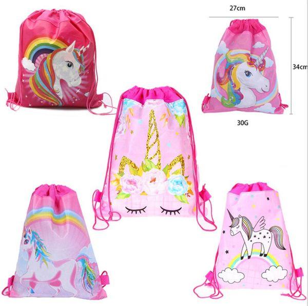 Karikatür Tasarımcı İpli Çanta Kız Bebek Köpekbalığı Unicorn Baskı Sırt Çantası Çift taraflı dokunmamış paket Cep Omuz Çantaları Sırt A51501