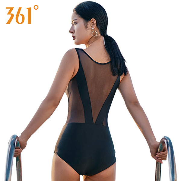 361 Transparent Swimsuit 2018 Sexy Mesh Bikini Female Bathers Bathing Suit Women Black One Piece Swimsuit Women Sheer Swimwear Y19072701