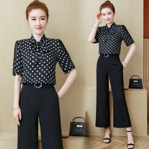 2019 Summer Korean Lace Womens Outfits Transparent Fashion Bow Black Dot 2piece Set Mujeres Trajes para mujer Pantalones anchos