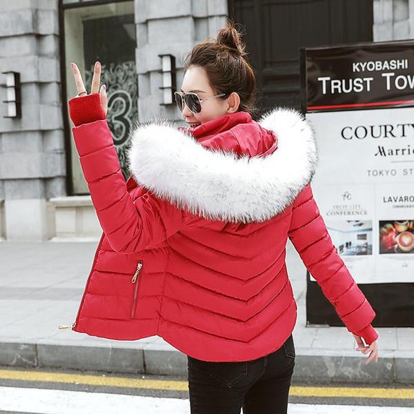 SIJIMZ kış giyim kadınlar 2019 Kürk yakalı beyaz İnce kadın ceket kış mont kadın kış ceket kadınlar kaput tutmak Sıcak