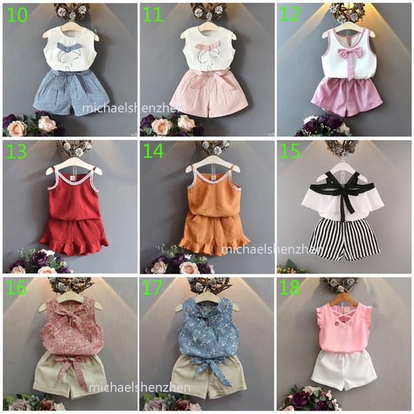 30 stilleri Bebek kız moda INS setleri 2019 Yeni çocuk yaz karikatür T-shirt + etek veya şort 2 adet set çocuklar giysi tasarımcısı B001