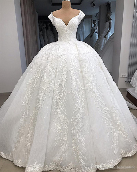 New Luxury Delicate 3D Appliques Lace Wedding Dresses Real Image Cap Sleeves Beaded Floor Length Long Bride Formal Wedding Gowns