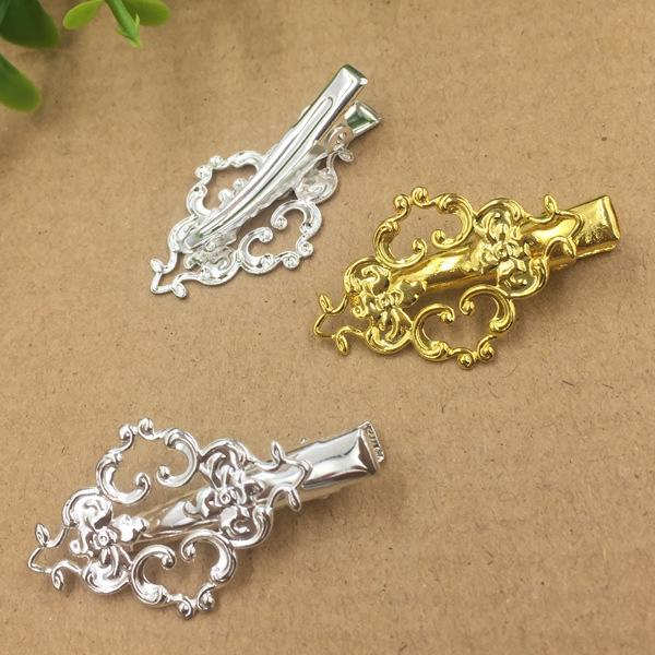20pcs Flower French barrettes Alligator clips hairpin setting rose gold silver hairclip antique bronze hair clip pin hairwear jewelry