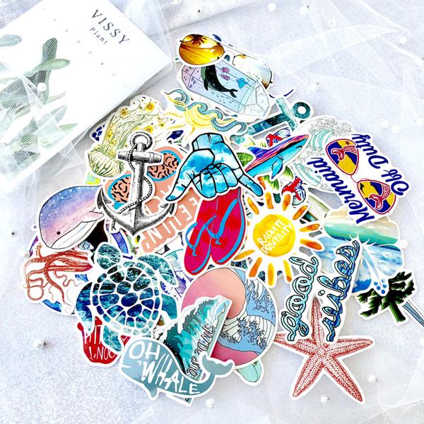 50pcs / paquete pegatinas Playa del verano etiqueta de surf para los niños en la computadora portátil Nevera Monopatín Teléfono Maleta divertidas frescas de la etiqueta engomada