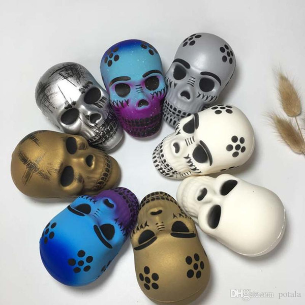 Horror Toys 8.5*5.5CM Squishy Skull Novelty Gag Toys Slow Rising Squishy Anti stress Relief Gadgets Practical Jokes Squeeze Halloween gifts
