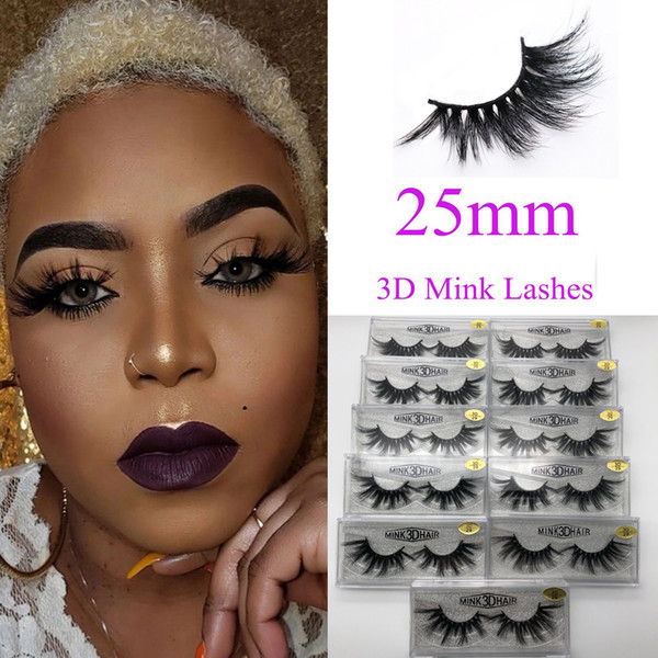 Nouveau 3d cils de vison 25mm long cils de vison 5D dramatique épaisse cils de vison à la main faux cils maquillage des yeux