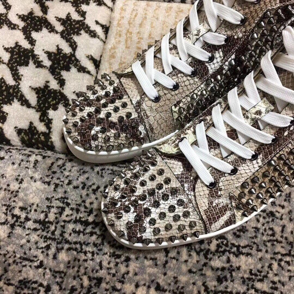 Elegant Designer Python Leather With Spikes Red Bottom Sneaker Shoes For Womens ,Mens Luxury Studs Casual Walking High Quality Leisure Flats