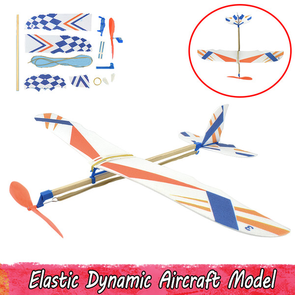 Outdoor Elastic Dynamic Aircraft Model Toys for Kids Foam Plane Handmade Assembling Science Experiment Toys Gifts for Kids Teens