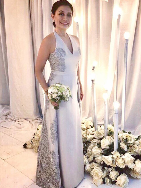 Elegant Halter Mother Of The Bride Dresses With Overskirt Silver Lace Appliques Sexy Sleeveless Wedding Guest Prom Evening Dress Plus Size
