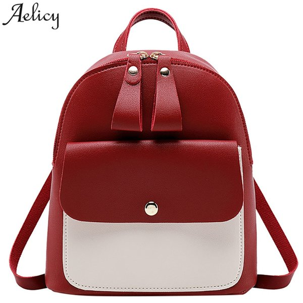 Aelicy bags For women Girl Leather zipper Backpack Lady Small Fashion trend college Purse Phone Shoulder bag backpack