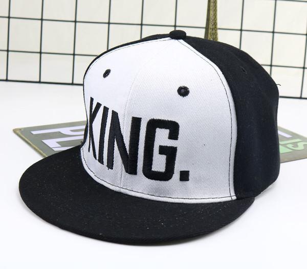Novos homens mulheres rei rainha letras cor sólida remendo boné de beisebol capas de hip hop de couro chapéu de sol snapback chapéus casal amante presente hft651