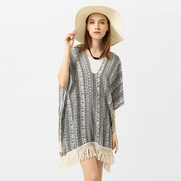 Para mujer del verano 3/4 mangas pullover traje de baño encubrir rayas geométricas étnicas impreso kimono profundo escote en v vestido largo de ganchillo