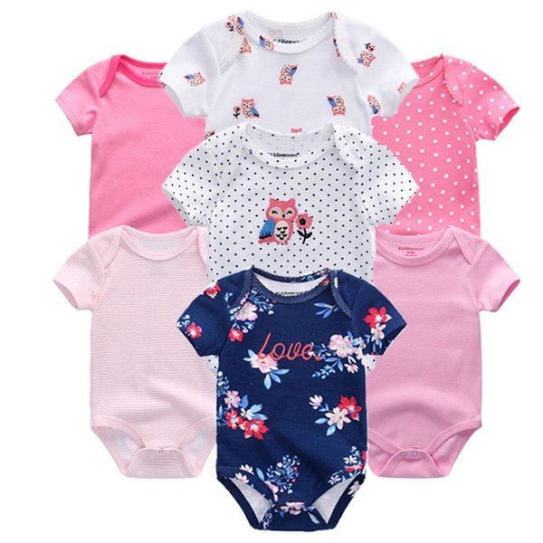 Top Quality 7pcs/lot Baby Boys Girls Clothes 2019 Fashion Roupas De Bebe Clothing Newborn Rompers Overall Baby Girl Jumpsuit Y19061201