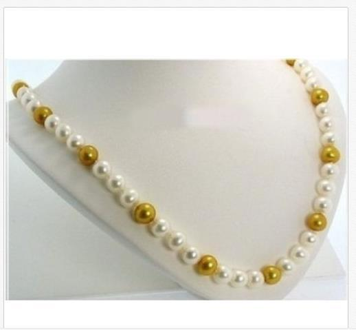 14k 10-11MM Australian south sea white GOLDEN PEARL NECKLACE 20inch