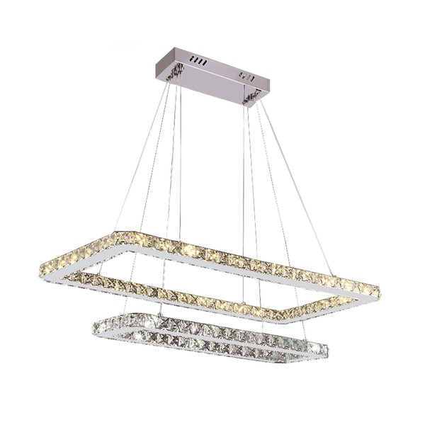 Luxury Square Modern LED Crystal Chandeliers K9 Crystal Pendant Lighting With 2 Layers Crystal for Living Room Restaurant