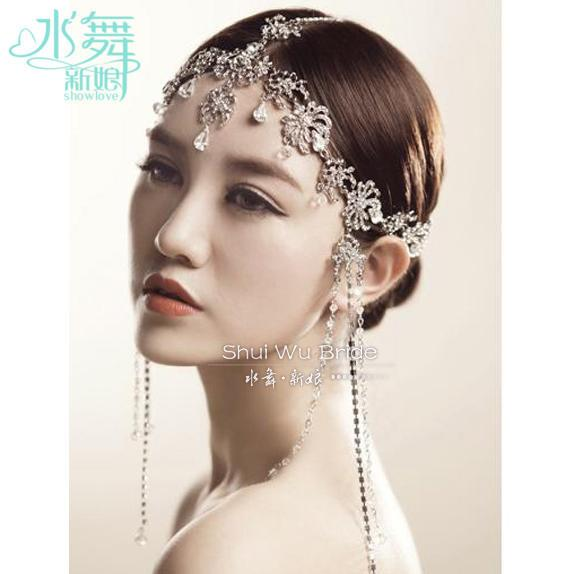 Korean Crystal Head Chain Tassel Frontlet Bridal Hair Accessories Wedding Hair Jewelry Soft Chain Wholesale Y19061503
