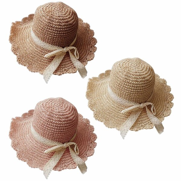 Women Straw Sun Hat Summer Beach Lace Bowknot Bucket Cap Foldable Wide Brim Soft