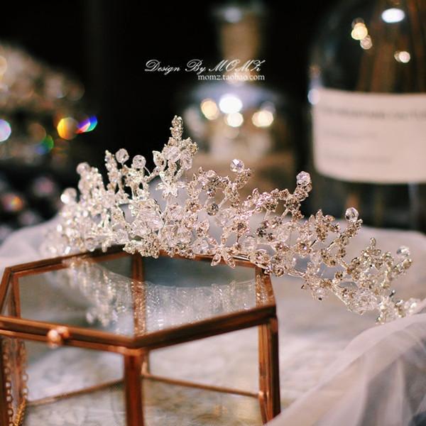 Spedizione gratuita argento oro rosa corone da sposa strass lusso strass cristallo principessa capelli diadema accessori fatti a mano gioielli di alta qualità
