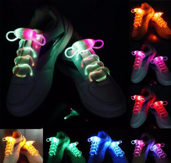 20 pezzi (10 paia) impermeabili illuminano lacci a LED moda flash discoteca partito incandescente notte sport lacci per scarpe stringhe multicolori luminosi