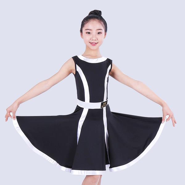 Latin Dance Skirt For Girl White/Black/Red Sleeveless Rumba Practice Dresses Kids Professional Samba Performance Costume DQL1318