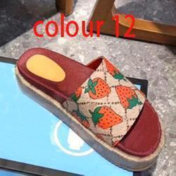 best selling Newset Classic Lady Slippers Woman Strawberry Beach Thick Bottom Shoes Platform Alphabet Lady Sandals Leather High Heel Slippers