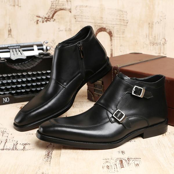 5679b748 Moda Negro / Tanque Doble Monk Correa Botines Zapatos de vestir para hombre  Botas de cuero