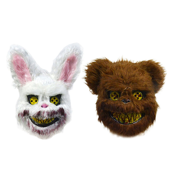 Bloody Teddy Bear Mask Masquerade Scary Plush Mask Halloween Performance Props Fashion Halloween Supplies Scary Props