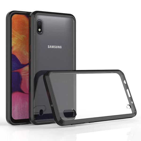 Para samsung galaxy a10 a30 a50 a70 case à prova de choque caso acrílico transparente tampa traseira quadro telefone protetora capa case oppbag 100 pcs