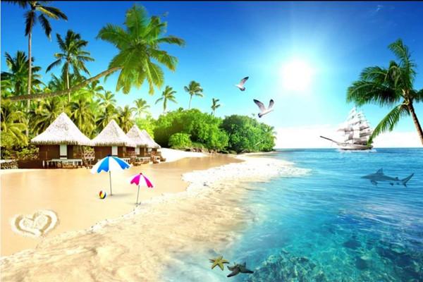 Özel fotoğraf kağıdı Seaside sea beach küçük çim ev hindistan cevizi ağacı deniz manzaralı uzay genişleme 3D arka plan duvar