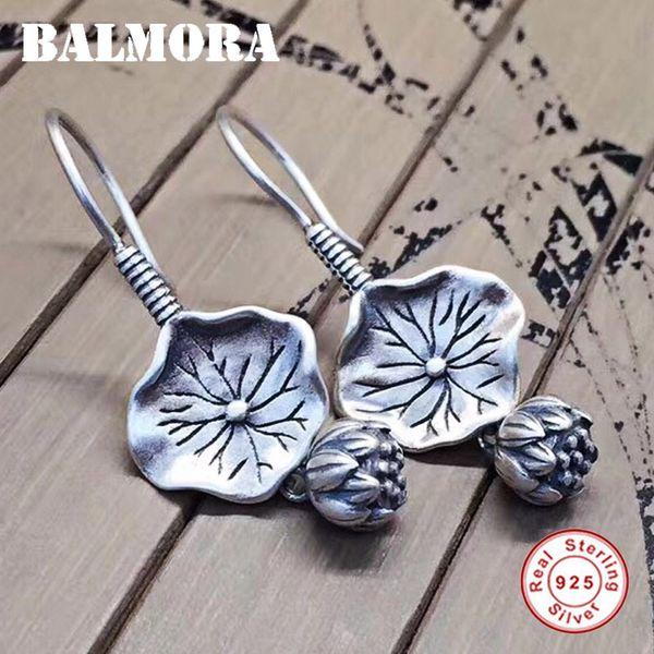 ALMORA 100% Real 925 Sterling Silver Lotus Flower Earrings for Women Mother Gift Earrings Vintage Thai Silver Jewelry SY31671 BALMORA 100...