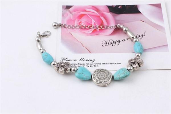 Neue Mode Türkis Armbänder Sideway elefant Cross Stretch Armband Perlen Bracele Armreif Armband Frauen Armbänder B0352