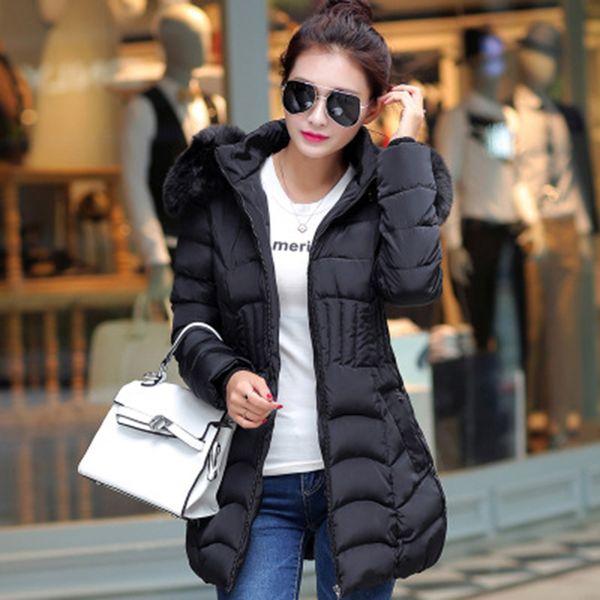 Femmes manteau à capuchon Col en peluche Thicken Réchauffez Veste longue Femme d'extérieur Taille Plus 4XL Parka