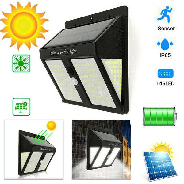 top popular 146 LED Solar Lights Solar PIR Motion Sensor Outdoor Waterproof Garden Lamps With Three Modes exterior Wall Lamps Super Bright 2019