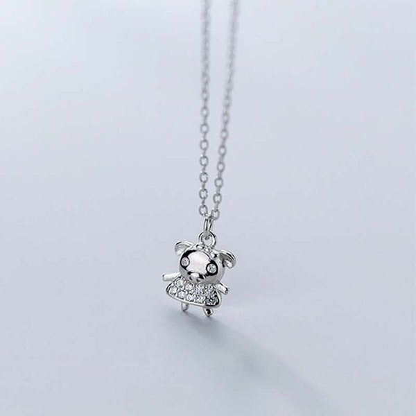Cute Animal Zircon 925 Sterling Silver Necklace For Women Fashion Jewelry Simple Dancing Pig Pendant Necklaces Girl Gift Chain