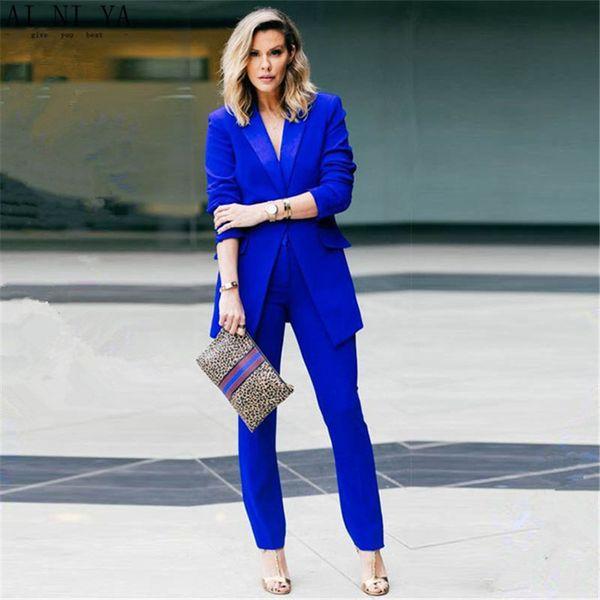 buying new 100% high quality best price Acheter Costumes Décontractés Bleu Royal 2 Pièces Ensemble Femmes Costumes  Costumes Slim Fit Dames Uniforme De Bureau Élégant Pantalon Pantalon ...