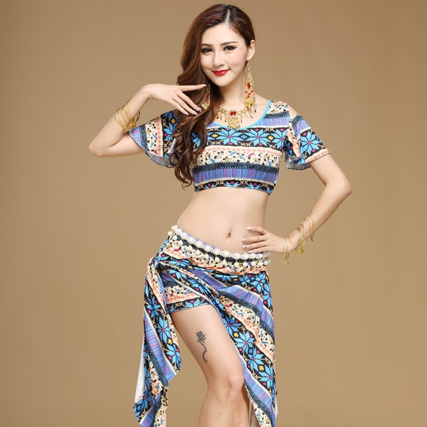 2019 Bellydance Costume Bellydance Costume Sale Women Cotton Woman India Square Belly Dance Suits Top&skirt Professionalst719