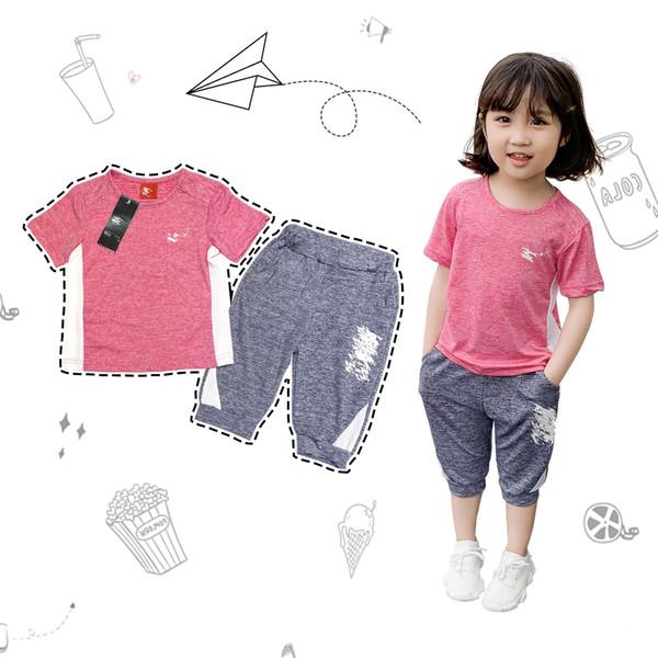 Marke Kinder NK Print Trainingsanzug Kinder Designer Volltonfarbe Shorts Set T-Shirt + Wadenlange Hosen 2-teiliges Set Sport Casual Homewear C52504