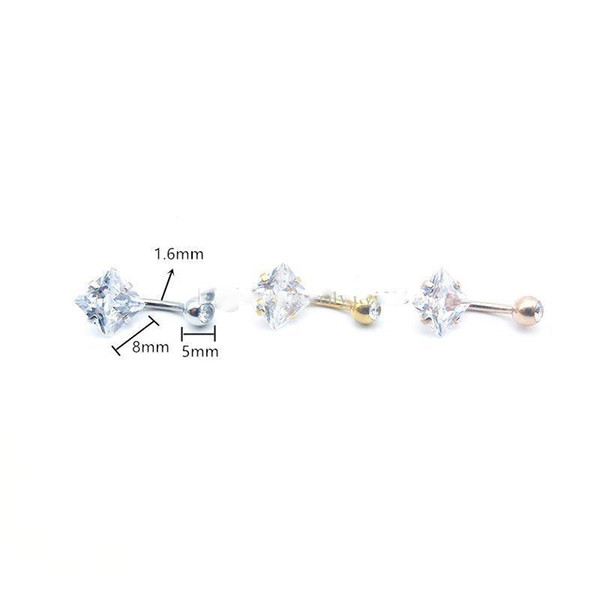 Venta caliente anillos de ombligo de circón en forma cuadrada doble CZ anillo de ombligo piercing joyería de piercing de cuerpo de acero inoxidable