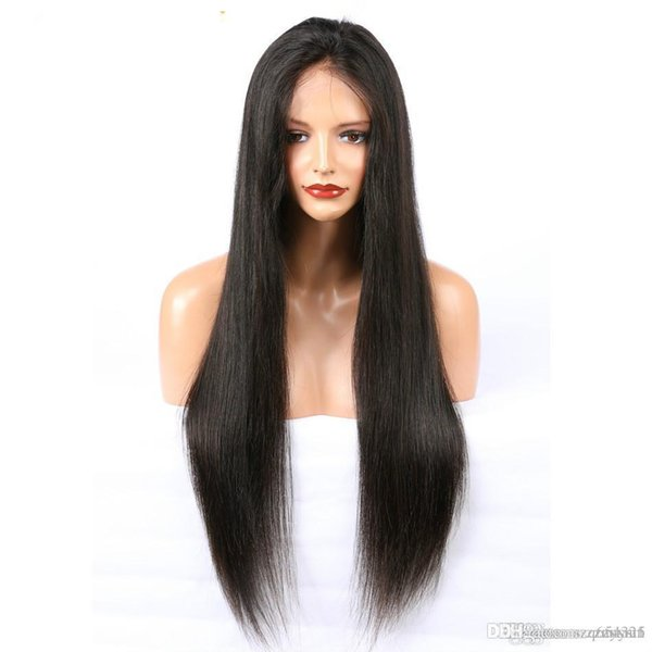 straight lace front hair wigs brazilian remy hair wigs pre plucked natural hairline with hair long lengths wig+wig net