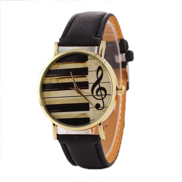 GENBOLI Mujeres Teclas de piano Nota Reloj de cuarzo Litchi Patrón Correa de cuero Relojes con esfera redonda Para estudiantes de pianistas Niños